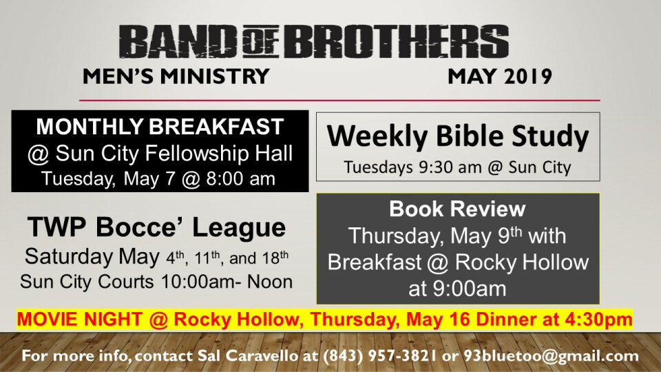 Men's Ministry May Events