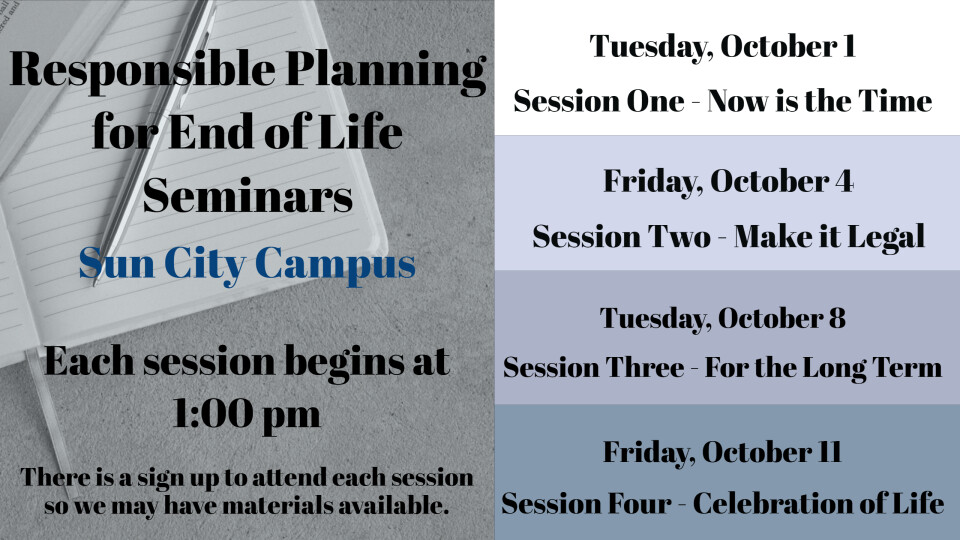 Responsible Planning for End of Life, Seminar #1